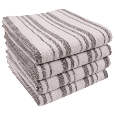KAF Home York Casserole Stripe Reversible Terry Cloth Kitchen Towels | Set of 4 100% Cotton Absorbent and Function Kitchen Utility Towels - Dark Gray