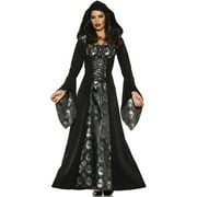 Skull Mistress Womens Black Gothic Witch Hooded Robe Halloween Costume