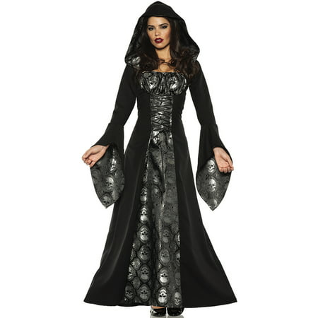 Skull Mistress Womens Black Gothic Witch Hooded Robe Halloween Costume - Tutorial Halloween Makeup Skull