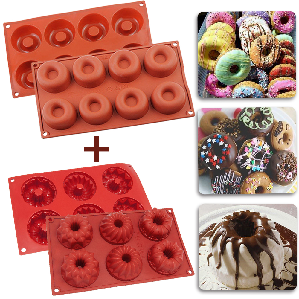 [2 Pack] Silicone Cake Mold,iClover Non Stick Donut +Bundt Baking Molds for Homemade Muffin, Cupcake, Brownie... by iClover