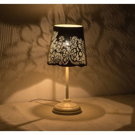 """15"""" Hollowed-out Metal Butterfly Antique White Table Lamp"""