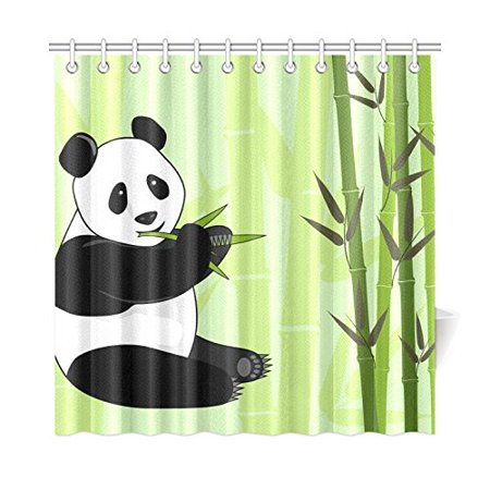 MKHERT Panda Bear Shower Curtain Waterproof Bath Decor 66x72 Inch