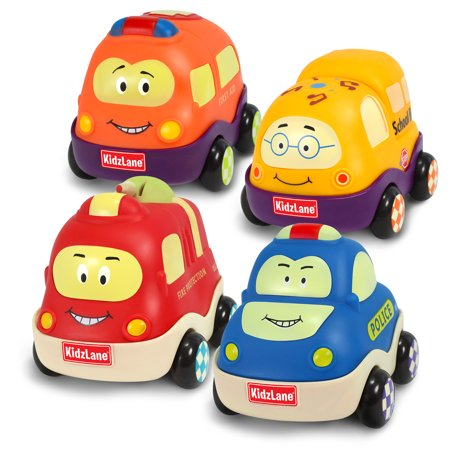 Kidzlane Pull Back Cars - Set of 4 Town Vehicles, Soft & Sturdy Push and Go Toys - Ages 18 Months to 3 Years