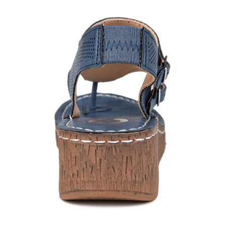 Brinley Co. Womens Perforated Wedge Sandal