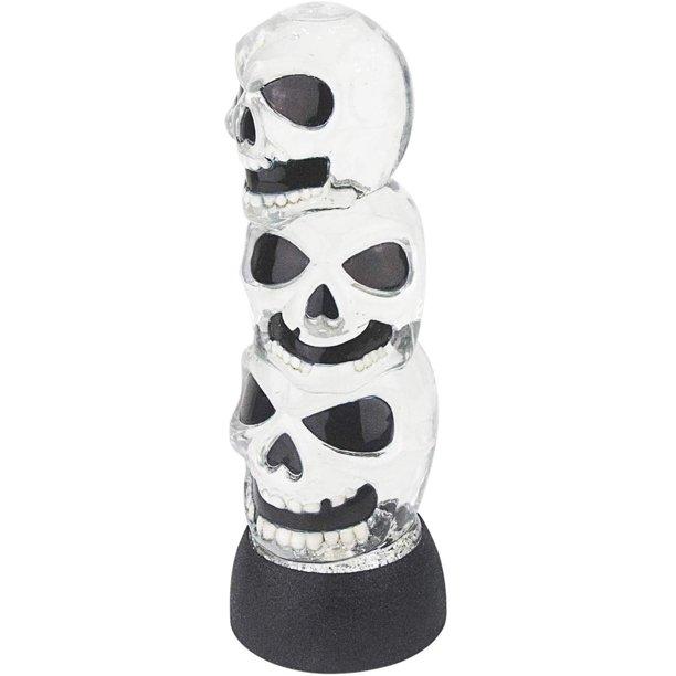 Triple Skulls Stack Tower Led Halloween Snow Globe Table Light Walmart Com Walmart Com