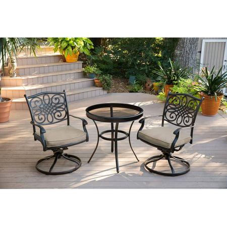 Hanover Outdoor Traditions 3-Piece Glass-Top Bistro Set with Swivel Rockers ()