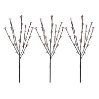 Set of 3 Red LED Cherry Blossom Lighted Outdoor Artificial Tree Branches 2.5'