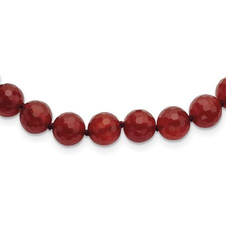 Carnelian Museum - 925 Sterling Silver 8-8.5mm Faceted Carnelian Necklace 18 Inch