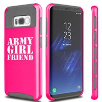 For Samsung Galaxy Shockproof Impact Hard Soft Case Cover Army Girlfriend (Hot-Pink For Samsung Galaxy S8)
