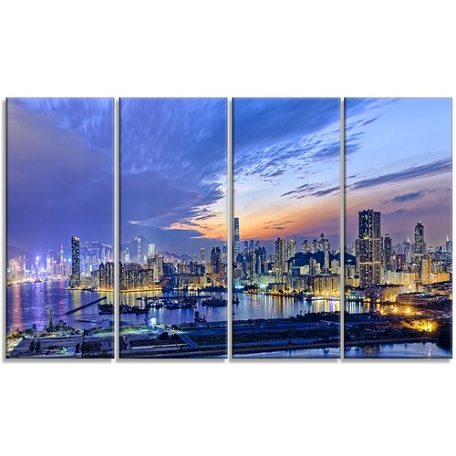 Design Art 'Hong Kong City Sunset Panorama' 4 Piece Photographic Print on Wrapped Canvas Set