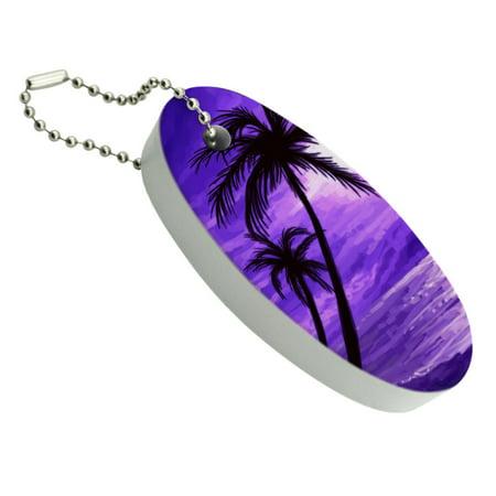 Purple Sunset Beach Palm Tree Hawaii Paradise Floating Foam Keychain Fishing Boat Buoy Key Float