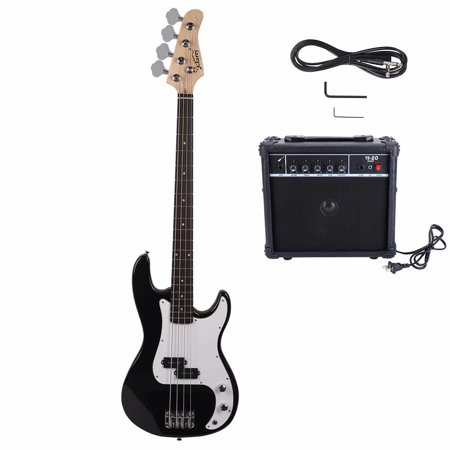 Akoyovwer Glarry GP Electric Bass Guitar with Amp Cord Wrench Tool Black Aria Bass Guitars
