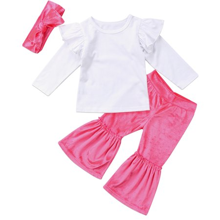 Fashion Baby Girls Long Flare Sleeve T-shirt Top With Velvet Wide Leg Pand And Headband 3pcs Outfits 6-12 Months