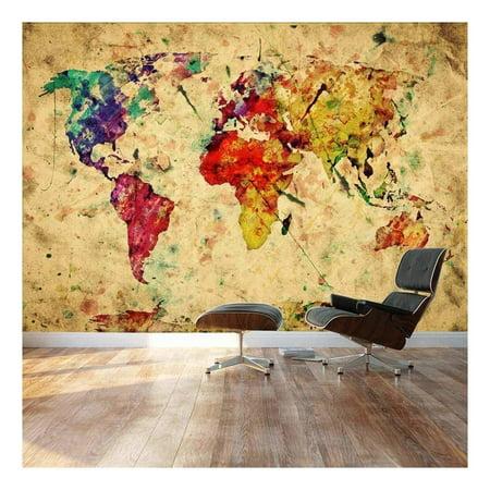 Wall26 - Large Wall Mural - Grunge/Vintage World Map | Self-adhesive Vinyl Wallpaper / Removable Modern Decorating Wall Art -
