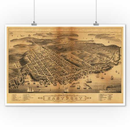Eastport, Maine - Panoramic Map (9x12 Art Print, Wall Decor Travel (Map Of The Maine Mall)