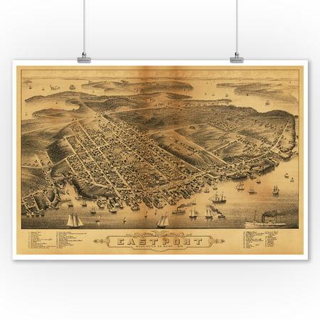 Panoramic Print (Eastport, Maine - Panoramic Map (9x12 Art Print, Wall Decor Travel)