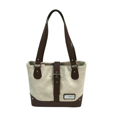 VISM Concealed Carry Shoulder Bag Off White with Burgundy Trim