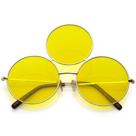 Oversize Circle Third Eye Sunglasses Slim Arms 56mm (Gold / (Fix Sunglasses Arm)