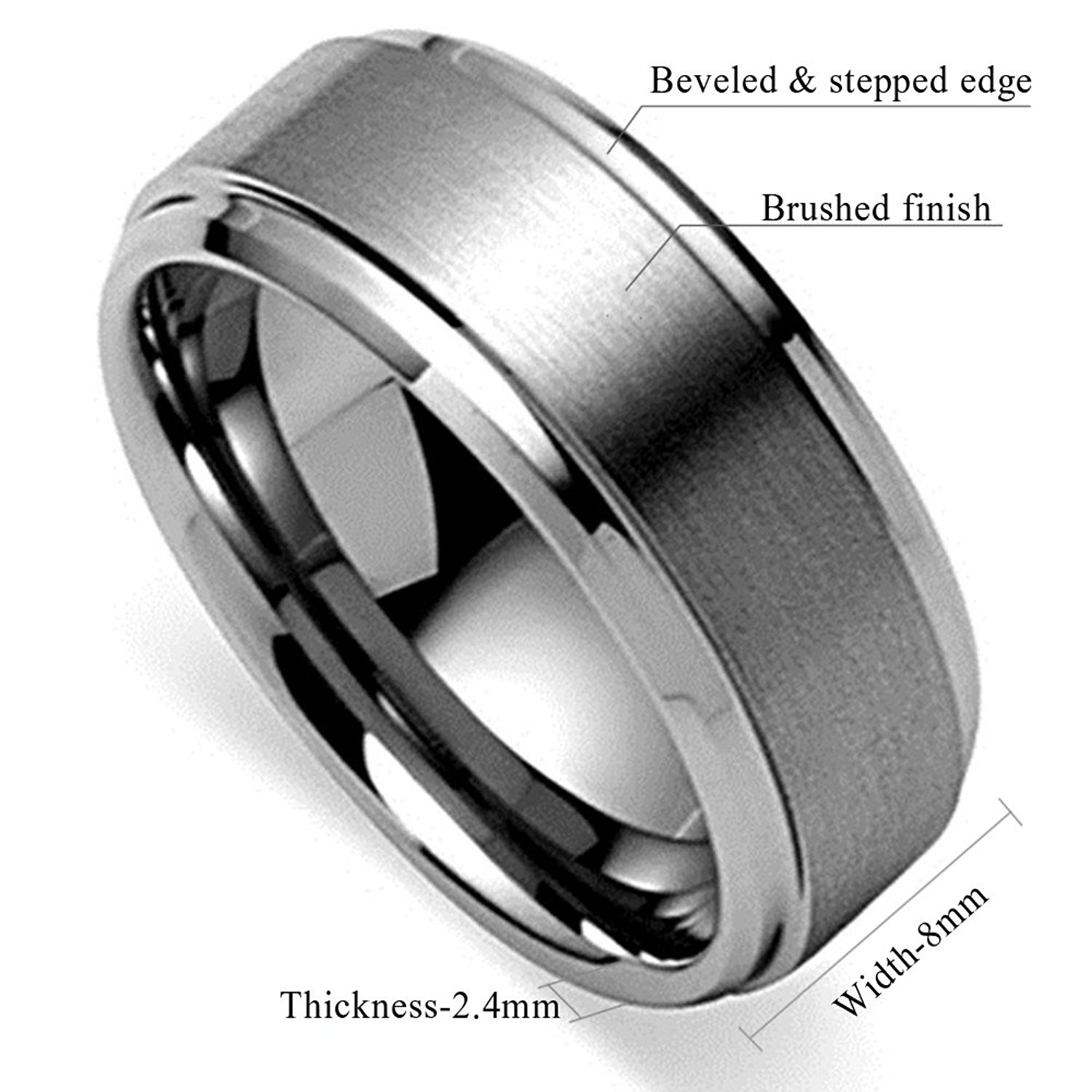 King Will Basic Tungsten Ring 8mm For Men Matte Beveled Edge Ring11 Walmart: Beveled Edge Matte Wedding Ring At Reisefeber.org