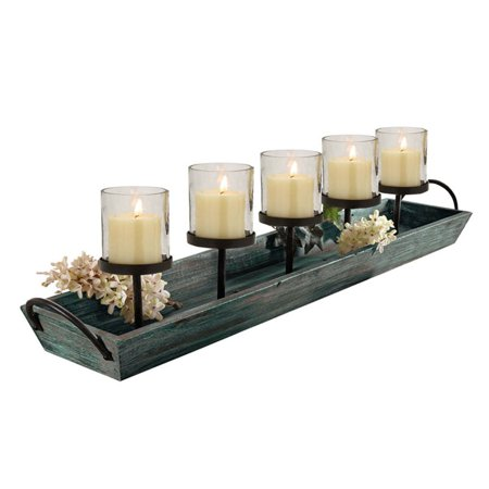 Zen Candle Holder Tray (HGC Rustic Wood 5 Candle Centerpiece Tray)
