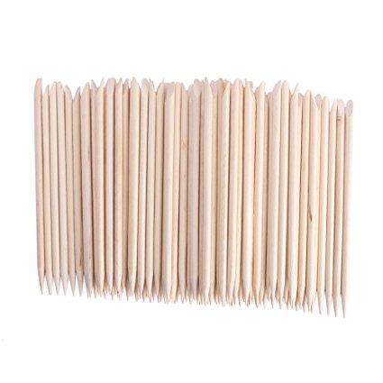 Beauticom Wood Cuticle Pusher Sticks (V-107D) - 100 Pieces
