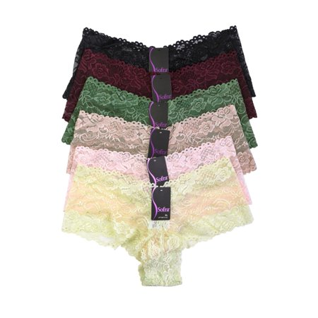 8a8a3b6d52a Blended - 6 Pack of Women Hipster Panties Floral Lace Boyshorts Cheeky  Underwear Bikini - Walmart.com