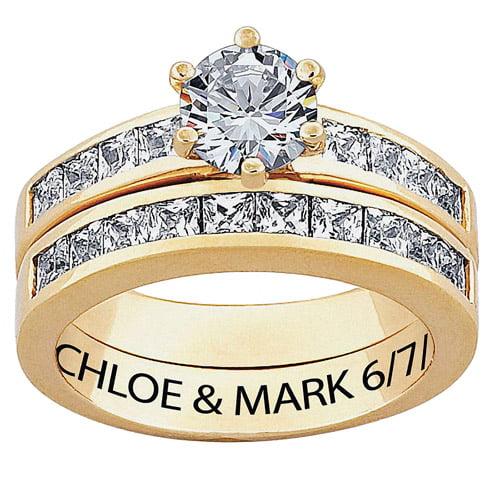 Personalized Women's CZ 10kt Gold 2-Piece Engraved Bridal Set