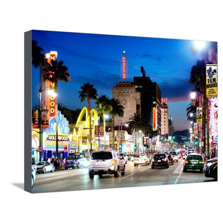 Landscape, Night, Hollywood Blvd, Los Angeles, California, United States Stretched Canvas Print Wall Art By Philippe (Hollywood Blvd California)