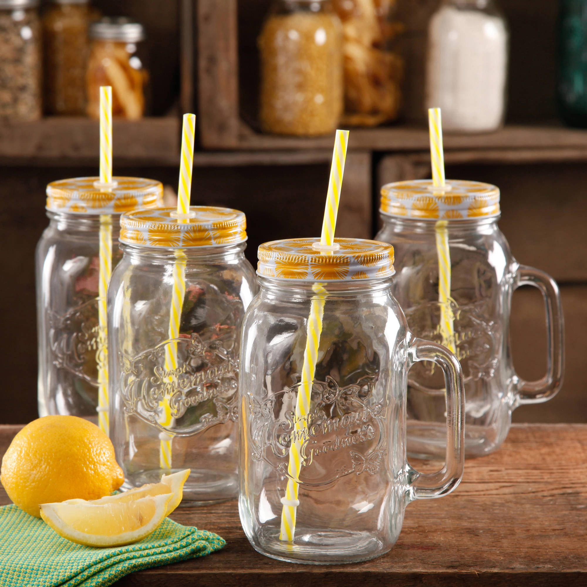 The Pioneer Woman Simple Homemade Goodness 32-Ounce Mason Jars with Handle, Lid and Straw, Set of 4