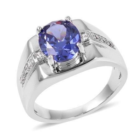 Silvertone Cubic Zircon Blue White Cubic Zirconia CZ Mens Statement Ring  Jewelry Size 10 Cttw 2 9