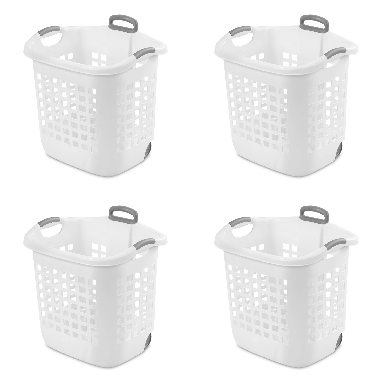Sterilite 1.75 Bushel Wheel Laundry Basket, White (Available in Case of 4 or Single Unit)
