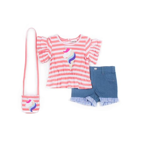 Striped Unicorn Tuffled Tee and Chambray Short, 2-Piece Outfit Set with GWP (Little Girls)
