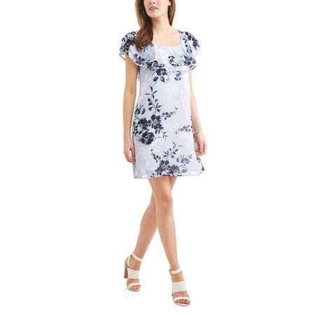 Ruffle Neck Wrap - Allison Brittney Women's Ruffled Neck Peasant Dress