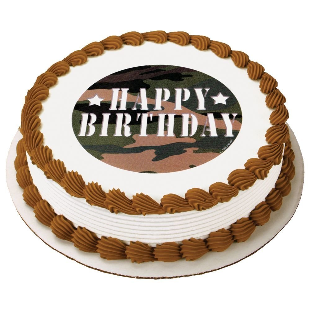 "Camouflage Birthday Camo Edible Icing Image Cake Top Decoration, Fits cakes 8"" or larger By Whimsical Practicality"