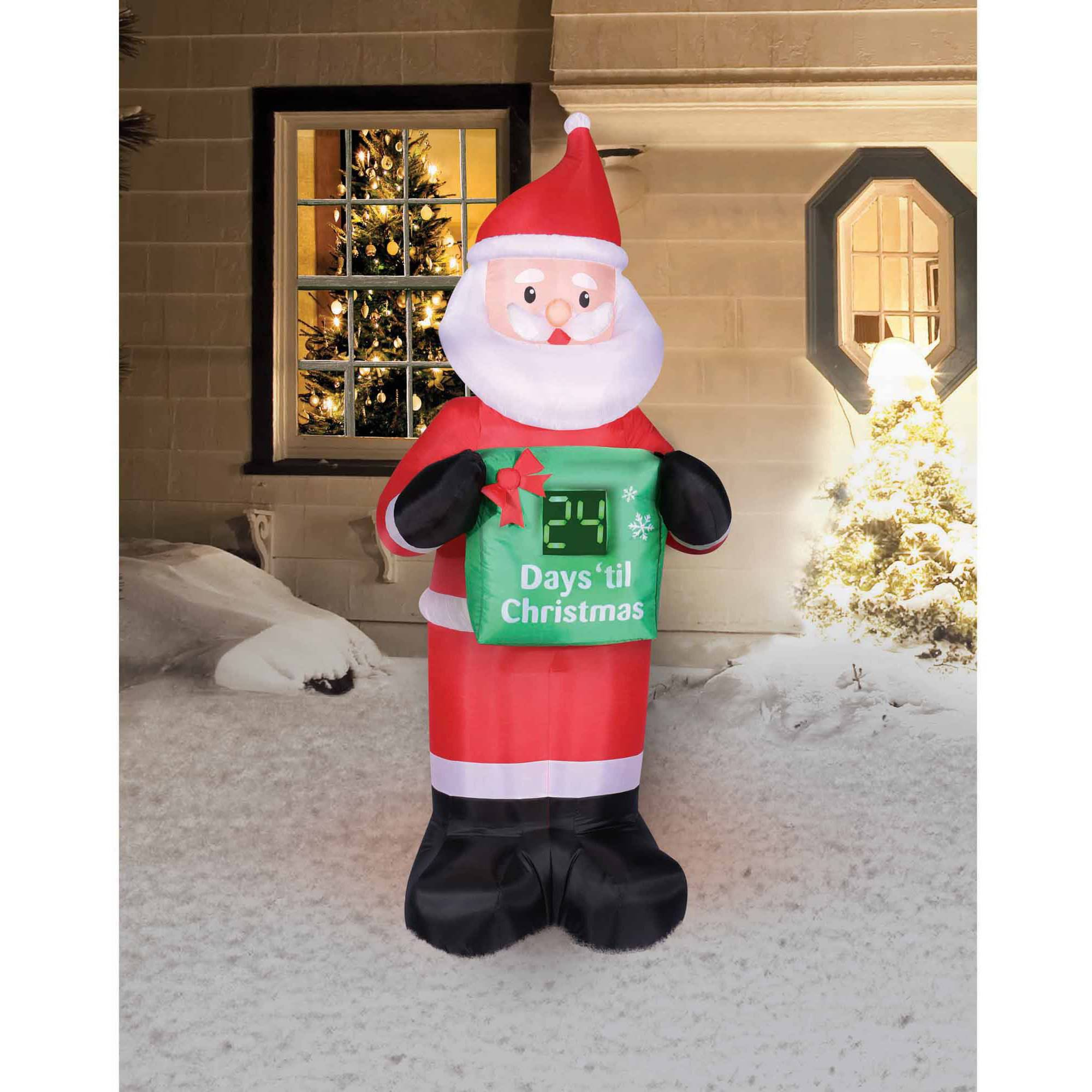 holiday time 7 countdown calendar santa christmas inflatable walmartcom - Christmas Blow Up Decorations Outside