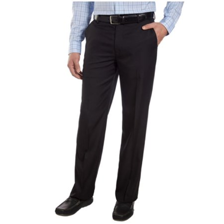 IZOD Mens Flat Front Straight Fit Dress Pant (36W X 34L, Black)