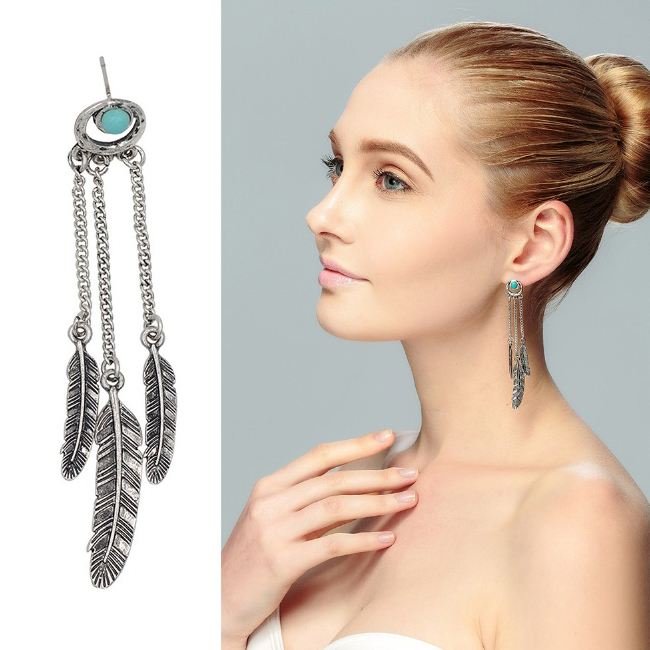 Dreamer Turquoise Earrings With Golden And Silver Tone Feathers
