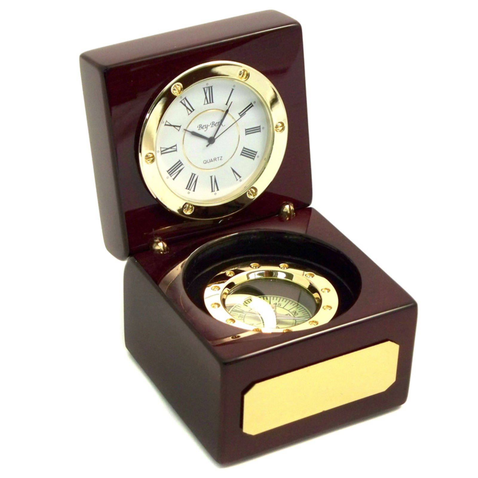 Bey-Berk International Compass Rosewood Desktop Clock