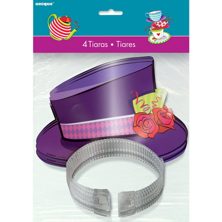 Alice in Wonderland Tea Party Top Hat Tiaras, 4ct - Tea Party Hats