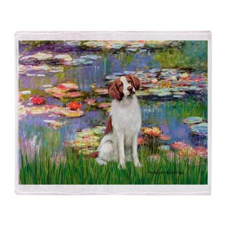 Brittany Spaniel Fleece (CafePress - Lilies 2/Brittany Spaniel - Soft Fleece Throw Blanket, 50