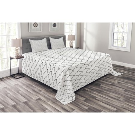 Geometric Bedspread Set, Circles Rounds Waves Like Image with Oriental Edges Modern Sketchy Print, Decorative Quilted Coverlet Set with Pillow Shams Included, Charcoal Grey White, by Ambesonne