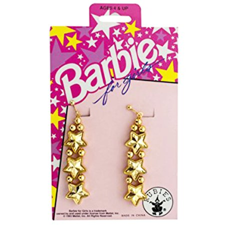 Barbie for Girls Gold Star Clip On Dangle Earrings Dress Up Pretend Play