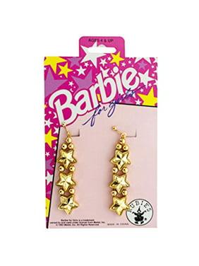 Barbie for Girls Gold Star Clip On Dangle Earrings Dress Up Pretend Play
