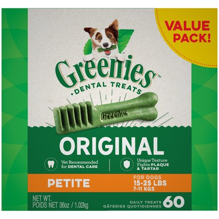 Natural Dental Chews - GREENIES Original Petite Dental Dog Treats, 36 oz. Pack (60 Treats)