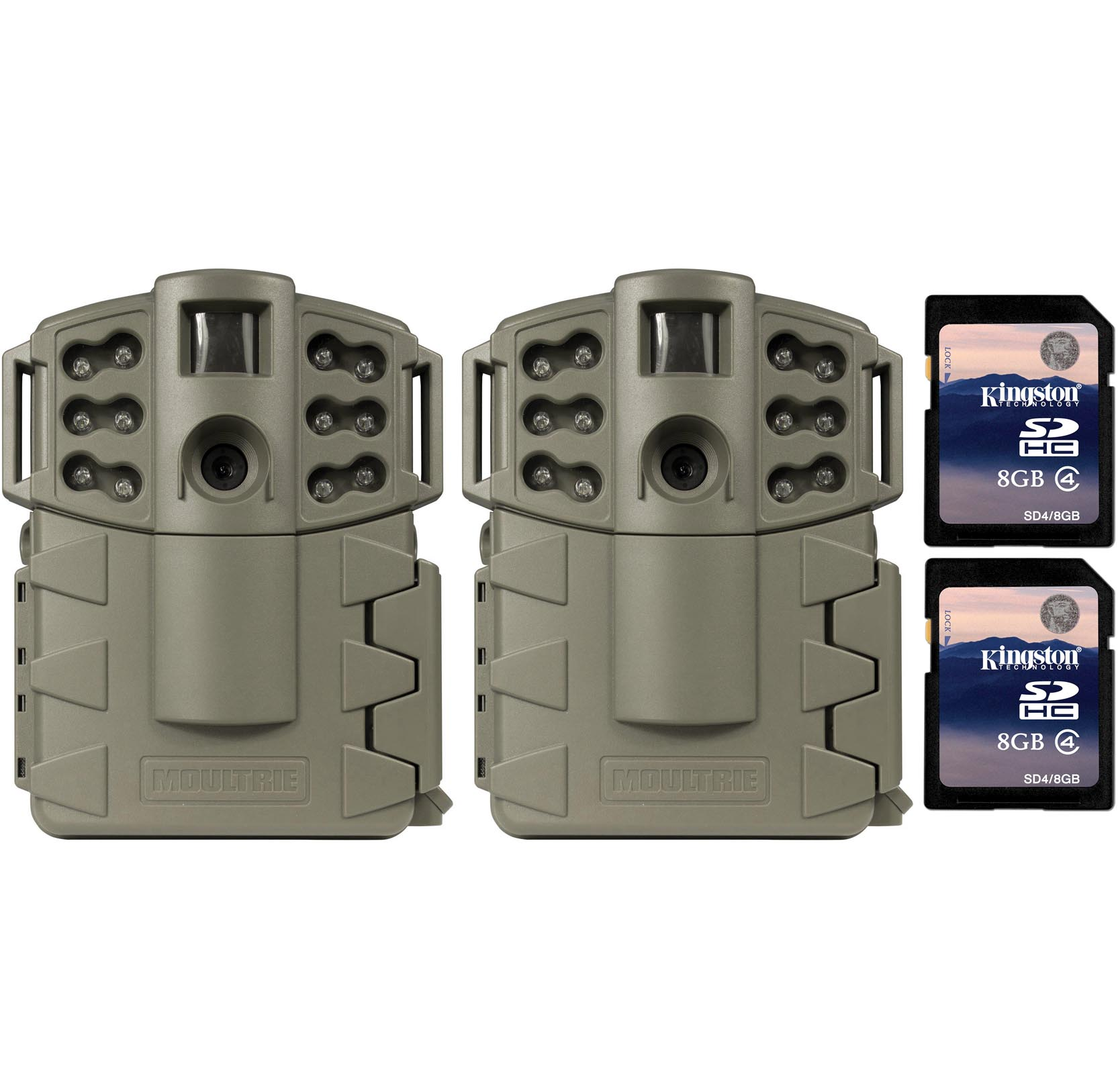 Moultrie Game Spy A-5 Gen2 Low Glow IR 5 MP Game Cameras + SD Cards, 2 Pack