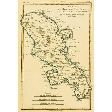 Map Of The Isle Of Martinique Circa 1760 From Atlas De Toutes Les Parties Connues Du Globe Terrestre  By Cartographer Rigobert Bonne Published Geneva Circa 1760 PosterPrint (Circa Map)