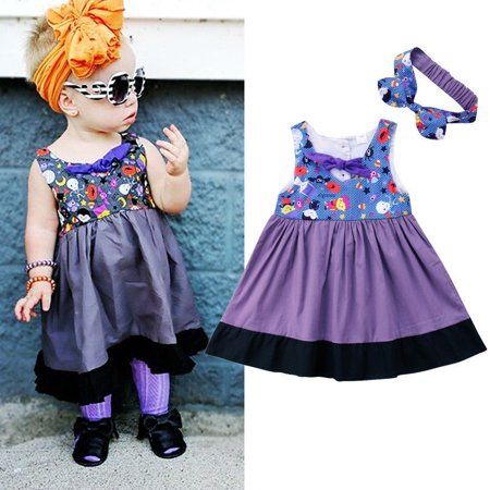 Pageant Costumes For Halloween (Purple Halloween Baby Girl Princess Dress Party Pageant Formal Dress Costume)