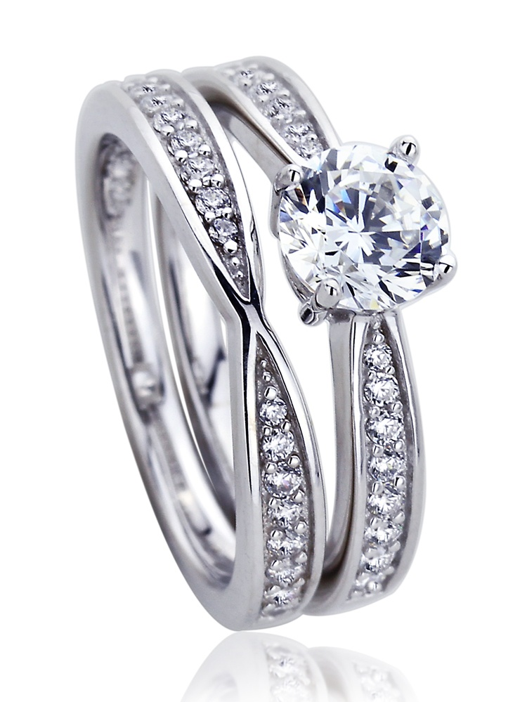 Platinum Plated Sterling Silver 1ct Round Cubic Zirconia 2 pcs Wedding Bridal Ring Set ( Size 5 to 9 ), 6 by