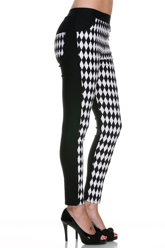 Juniors' Leggings Celebrity  Black & White Diamond Checker Skinny Pants with Pockets