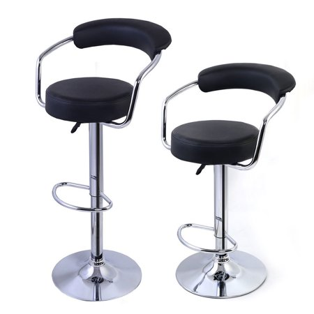 Ktaxon 2 PCS Kitchen Swivel Barstools Counter Adjustable Height Chairs Black